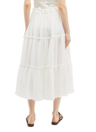 Back View - Click To Enlarge - LISA MARIE FERNANDEZ - Ruffle tiered linen blend skirt