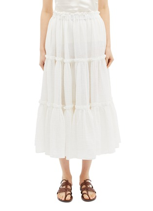 Main View - Click To Enlarge - Lisa Marie Fernandez - Ruffle tiered linen blend skirt