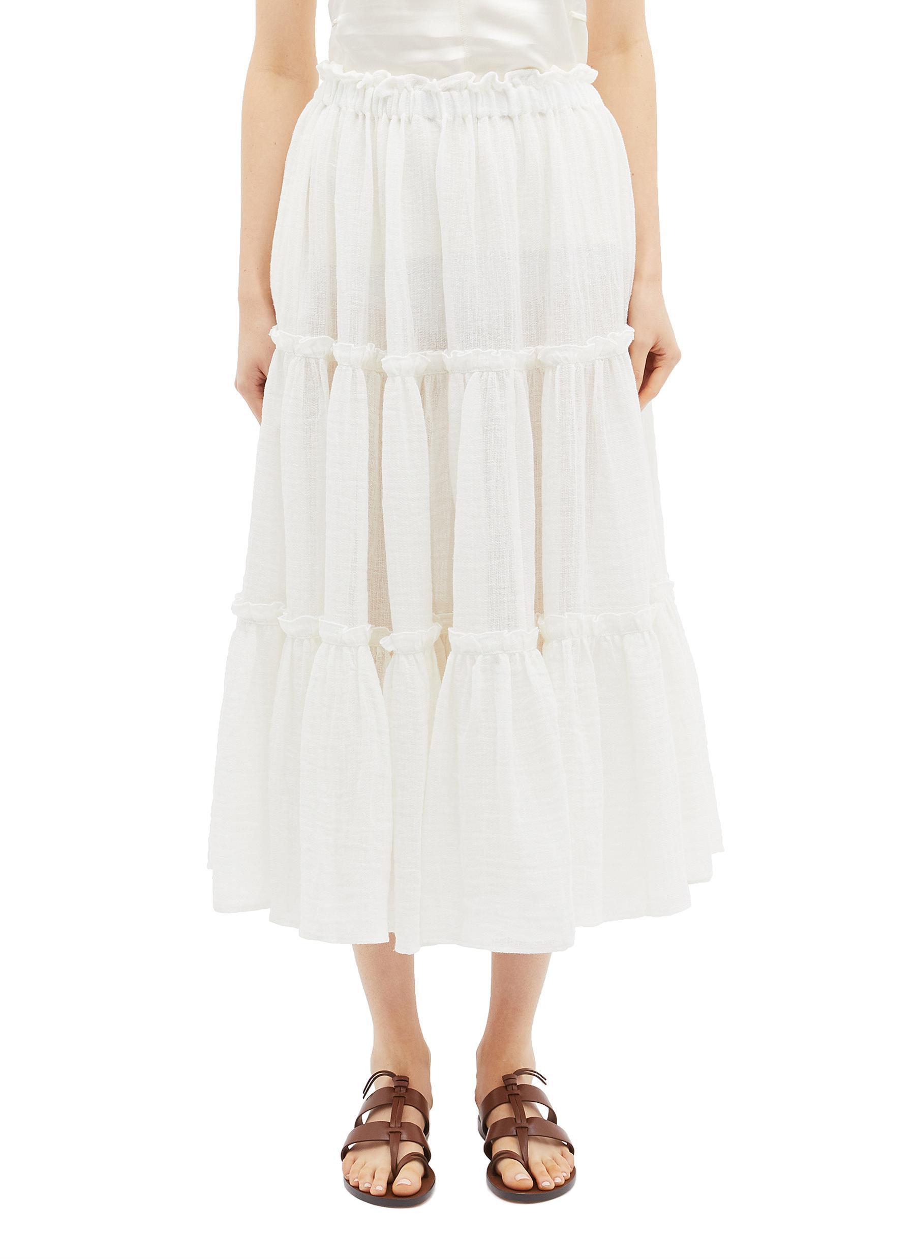 shop Lisa Marie Fernandez Ruffle tiered linen blend skirt online