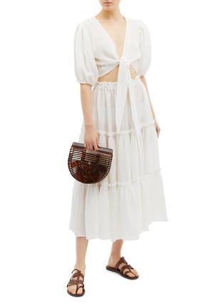 Figure View - Click To Enlarge - Lisa Marie Fernandez - Ruffle tiered linen blend skirt