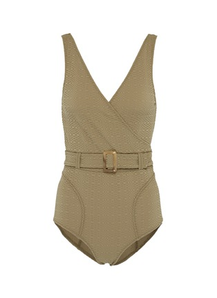 Main View - Click To Enlarge - LISA MARIE FERNANDEZ - 'Yasmin' belted textured one-piece swimsuit