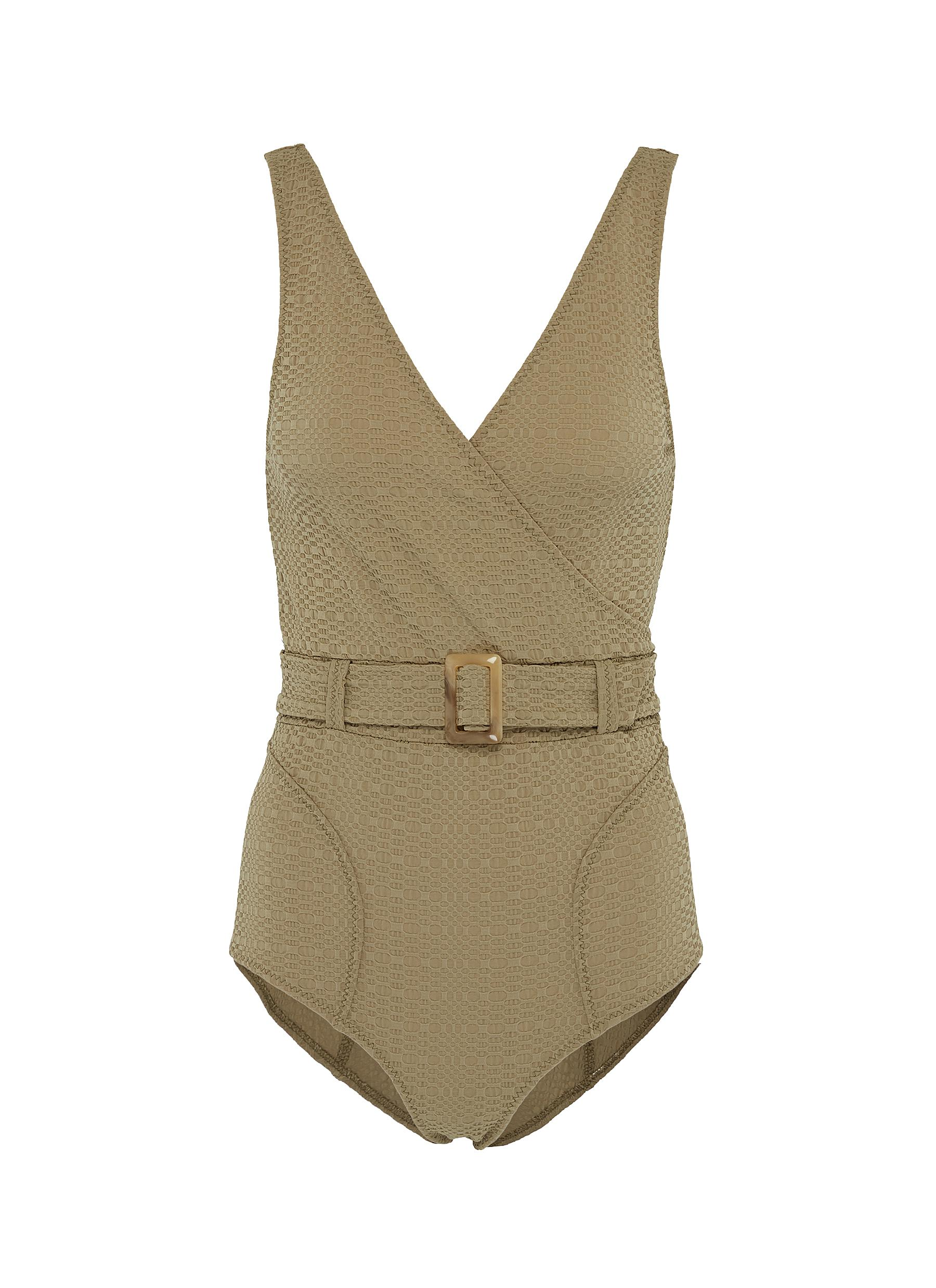 Yasmin belted textured one-piece swimsuit by Lisa Marie Fernandez