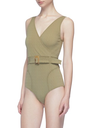 Figure View - Click To Enlarge - LISA MARIE FERNANDEZ - 'Yasmin' belted textured one-piece swimsuit