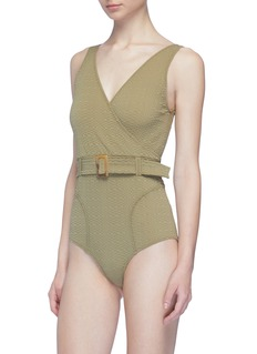 Lisa Marie Fernandez 'Yasmin' belted textured one-piece swimsuit