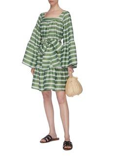 Lisa Marie Fernandez Flared sleeve tie waist striped mini peasant dress