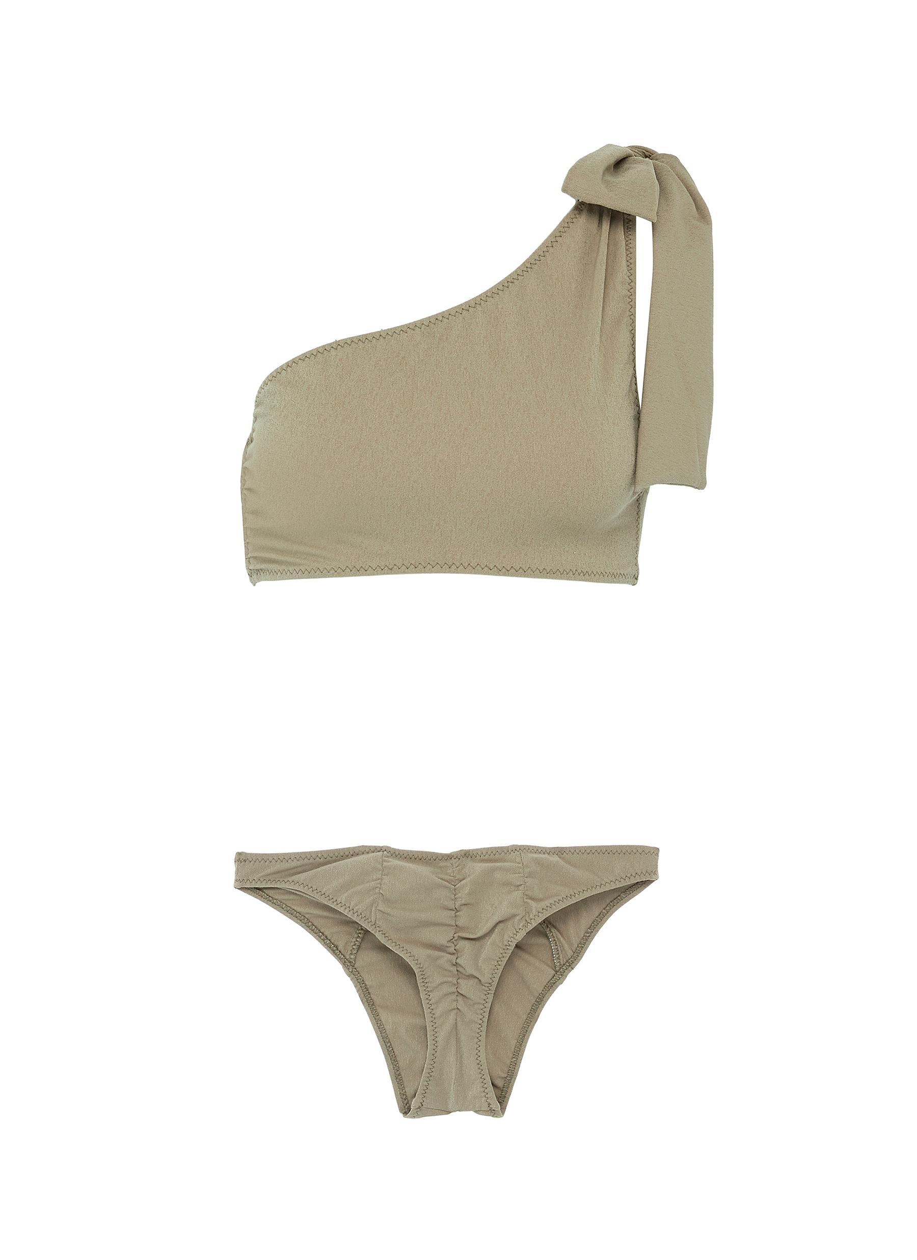 Arden tie one-shoulder bikini set by Lisa Marie Fernandez