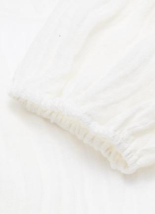 - Lisa Marie Fernandez - Puff sleeve tie front cropped linen blend blouse