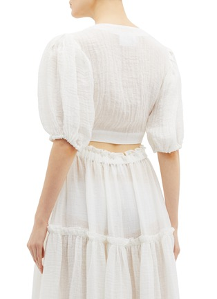 Back View - Click To Enlarge - Lisa Marie Fernandez - Puff sleeve tie front cropped linen blend blouse