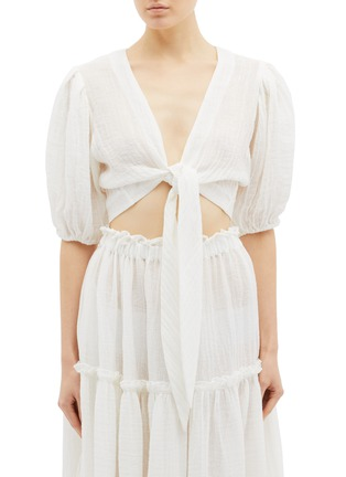 Main View - Click To Enlarge - LISA MARIE FERNANDEZ - Puff sleeve tie front cropped linen blend blouse