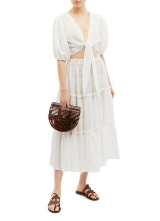 Figure View - Click To Enlarge - LISA MARIE FERNANDEZ - Puff sleeve tie front cropped linen blend blouse