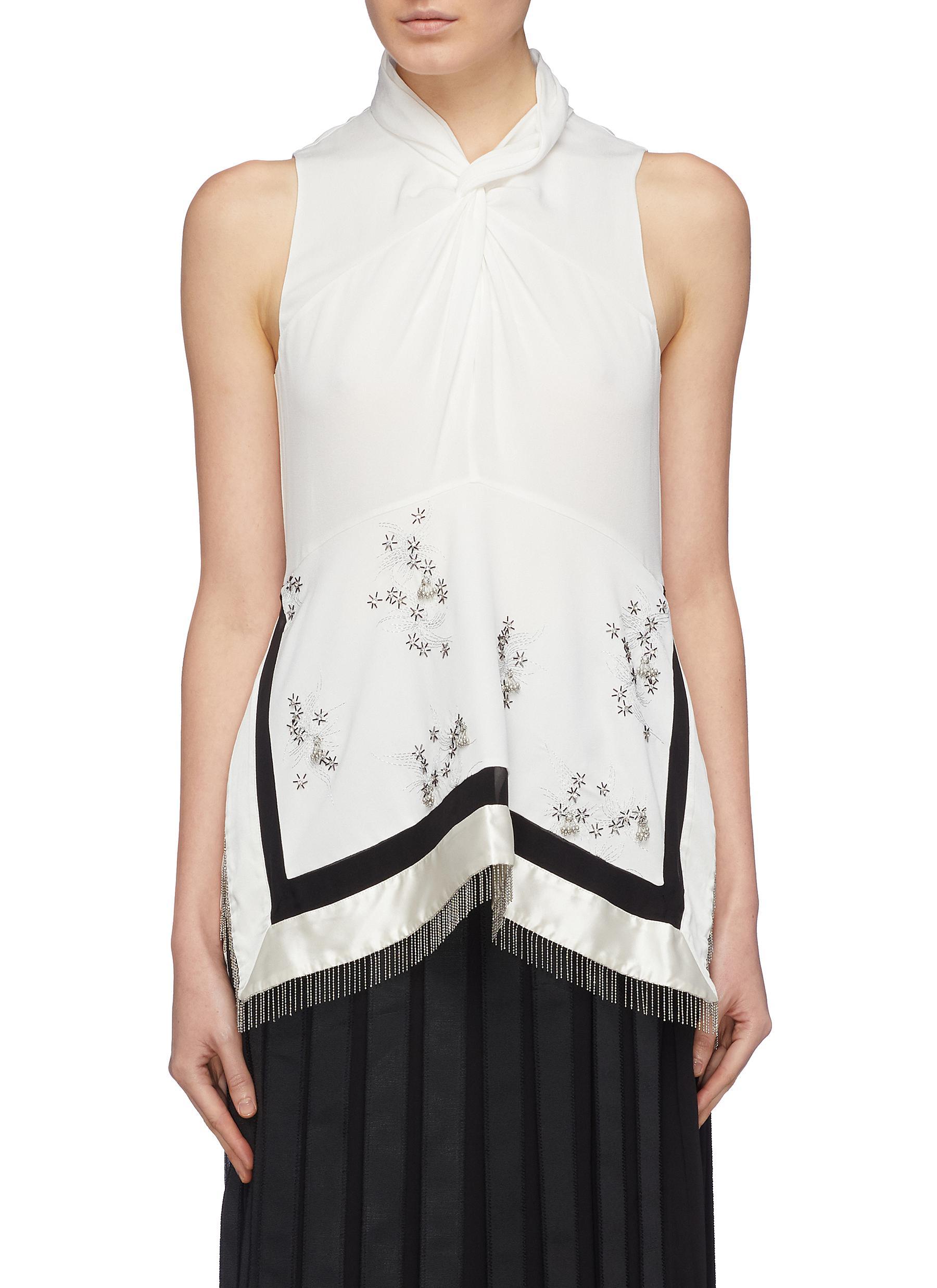 Twist neck beaded fringe handkerchief panel sleeveless top - 3.1 PHILLIP LIM - Modalova