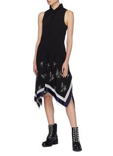 3.1 Phillip Lim Twist neck beaded fringe handkerchief panel sleeveless dress