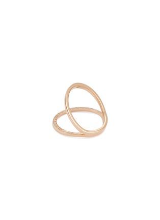 Figure View - Click To Enlarge - DELFINA DELETTREZ - 'In Between' diamond 18k rose gold ring