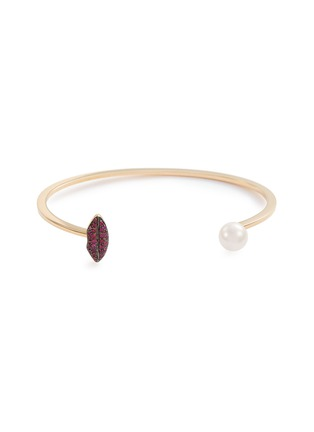 Main View - Click To Enlarge - DELFINA DELETTREZ - 'Lip Piercing' ruby pearl 18k yellow gold cuff