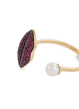 Detail View - Click To Enlarge - DELFINA DELETTREZ - 'Lip Piercing' ruby pearl 18k yellow gold open ring