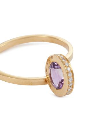 Detail View - Click To Enlarge - DELFINA DELETTREZ - 'Seal' diamond amethyst 18k yellow gold ring