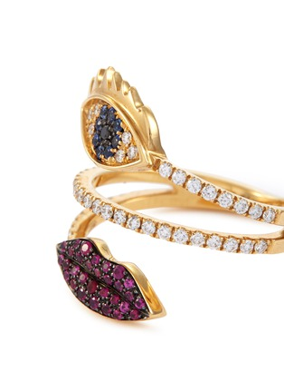 Detail View - Click To Enlarge - DELFINA DELETTREZ - 'Marry Me Eyes and Lips' diamond ruby sapphire 18k yellow gold ring