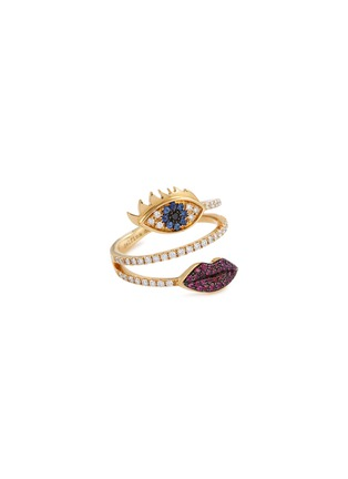 Main View - Click To Enlarge - DELFINA DELETTREZ - 'Marry Me Eyes and Lips' diamond ruby sapphire 18k yellow gold ring