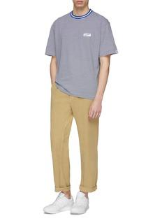 nanamica Logo appliqué stripe boxy T-shirt