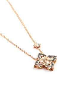 Roberto Coin 'Princess Flower' diamond 18k rose gold pendant necklace