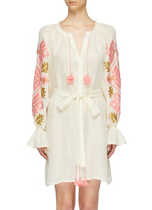 a18a3d407f2 March11.  Gala  belted graphic embroidered linen mini dress