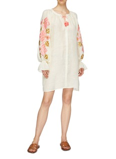 March11 'Gala' belted graphic embroidered linen mini dress