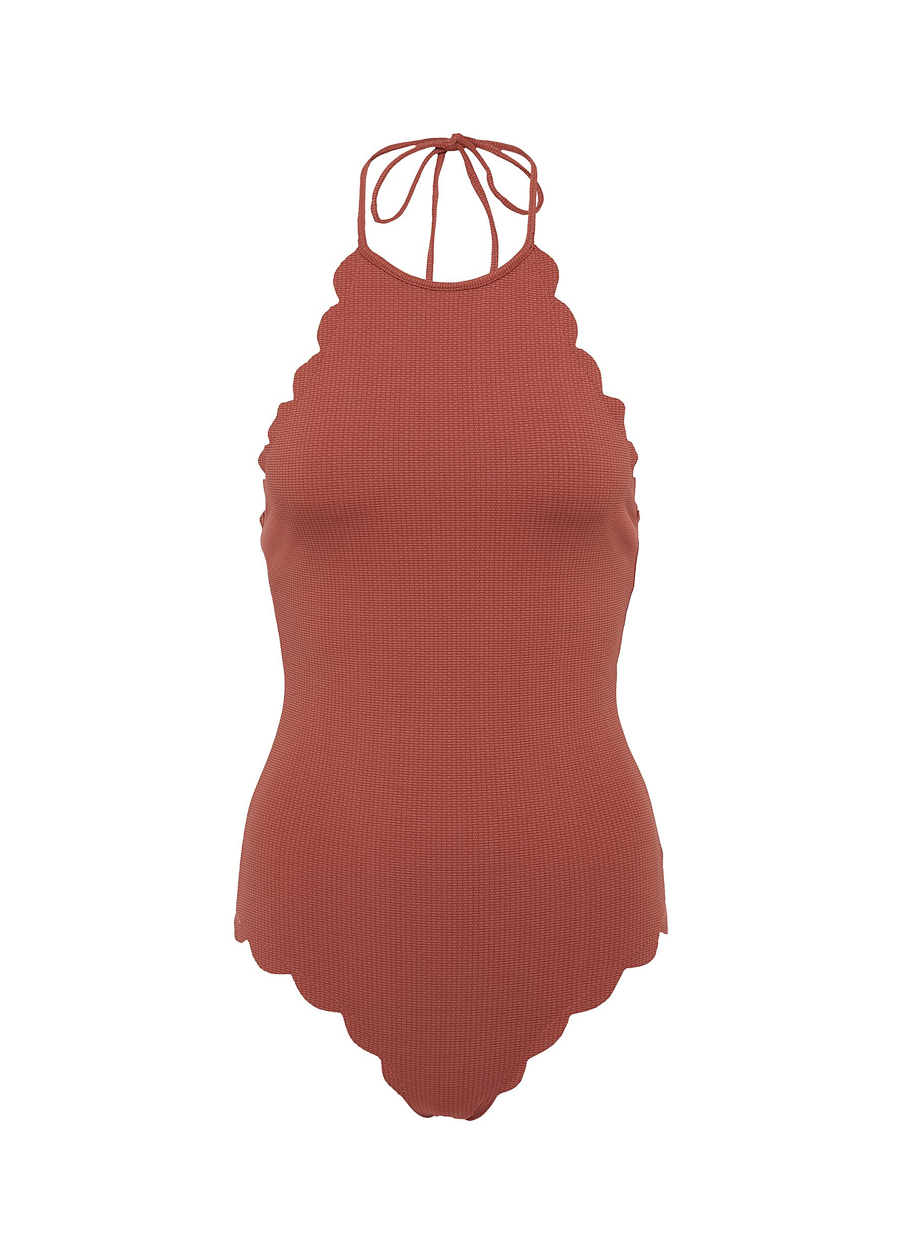 Mott scalloped halterneck one-piece swimsuit by Marysia