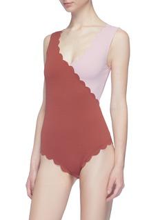 Marysia 'Canyon Point' colourblock scalloped one-piece swimsuit