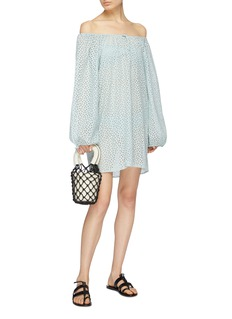Marysia 'Moab' drawcord off-shoulder broderie anglaise mini dress