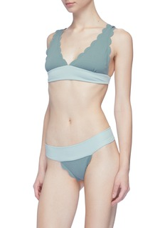 Marysia 'Santa Clara' colourblock waist scalloped bikini bottoms
