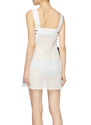 Back View - Click To Enlarge - Marysia - 'Waikiki' lace-up outseam broderie anglaise sleeveless dress