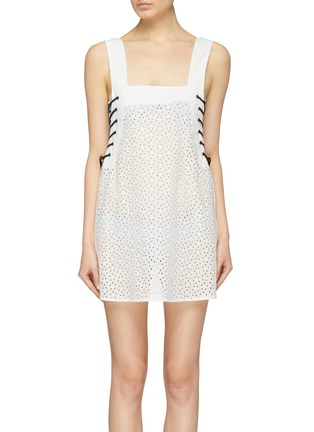 Main View - Click To Enlarge - Marysia - 'Waikiki' lace-up outseam broderie anglaise sleeveless dress