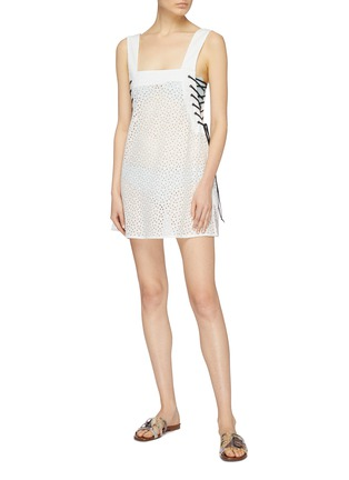 Figure View - Click To Enlarge - Marysia - 'Waikiki' lace-up outseam broderie anglaise sleeveless dress