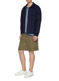 MAISON FLANEUR Raw asymmetric hem stripe micromodal blend T-shirt