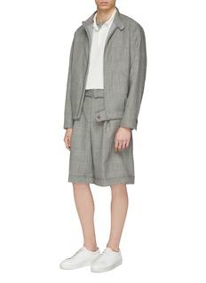 MAISON FLANEUR Houndstooth check plaid virgin wool harrington jacket