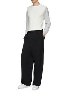MAISON FLANEUR Contrast sleeve stripe sweater