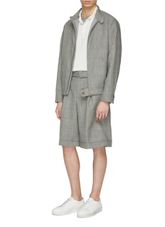MAISON FLANEUR Belted houndstooth check plaid virgin wool shorts