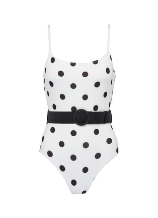 Main View - Click To Enlarge - SOLID & STRIPED - 'The Nina' belted polka dot print one-piece swimsuit