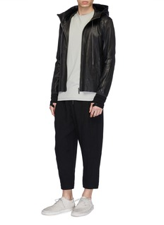 DEVOA Hooded leather jacket