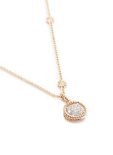 Roberto Coin 'New Barocco' diamond 18k rose gold circle pendant necklace