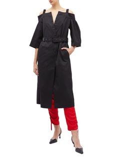 AKIRA NAKA Belted off-shoulder twill trench coat