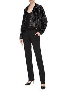 POIRET Slant zip metallic velvet bomber jacket