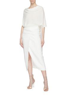 POIRET Scarf panel drape silk charmeuse top