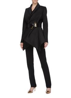 POIRET Ruched drape front virgin wool-silk duchesse jacket