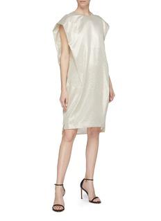 POIRET Silk blend lamé shift dress