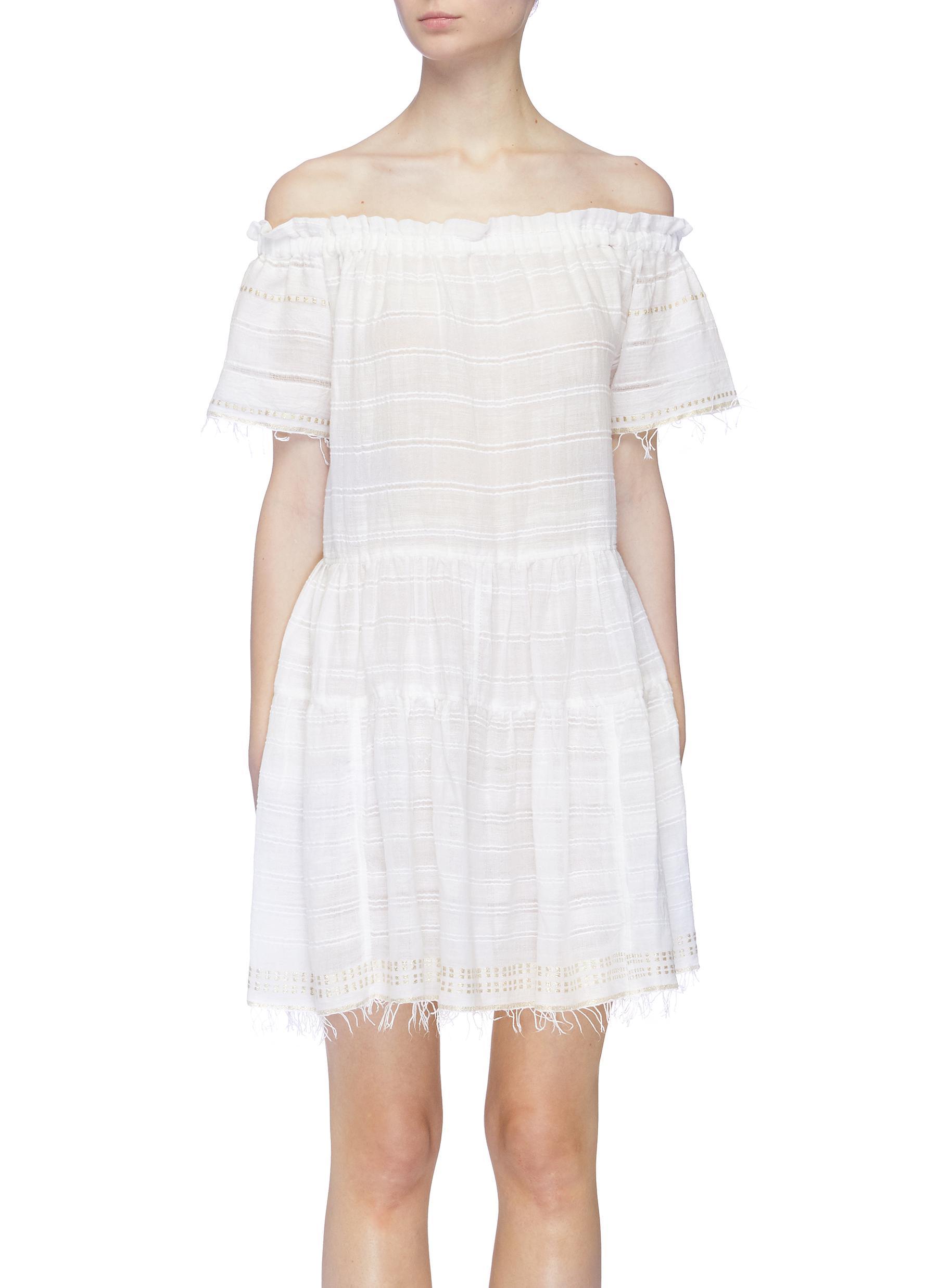 Kelali frayed hem stripe off-shoulder dress by Lemlem