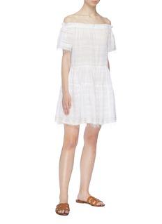 Lemlem 'Kelali' frayed hem stripe off-shoulder dress