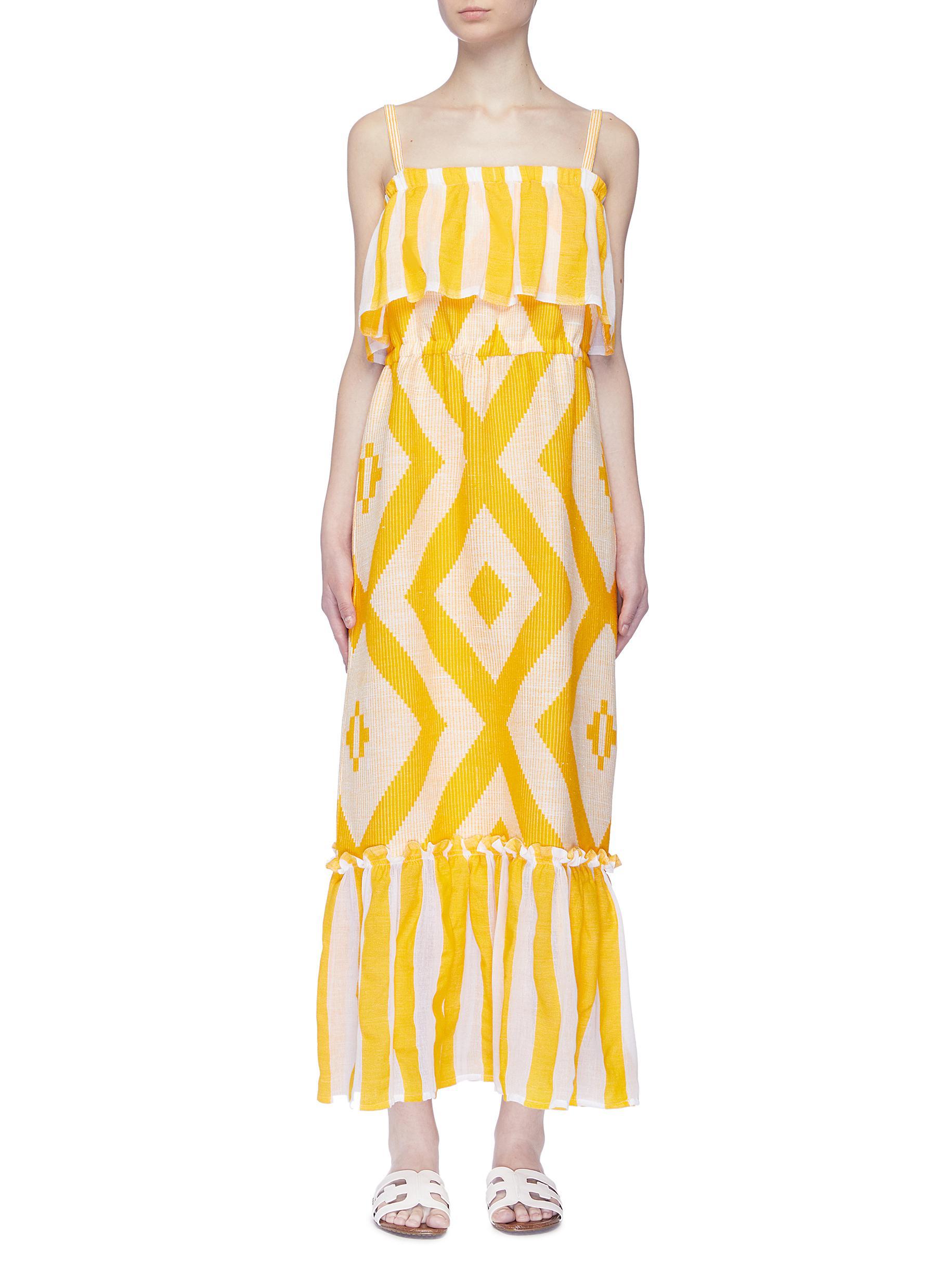 Biruhi ruffle overlay geometric print tiered sleeveless dress by Lemlem