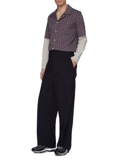 GOETZE 'Larry' colourblock layered sleeve check plaid shirt