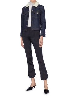 KHAITE 'Laura' faux shearling collar raw denim jacket